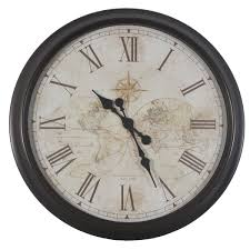 small bathroom clock: oversized quot antique map wall clock