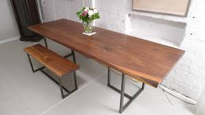 small dining bench: walnut wood dining  furniture simple rectangle brown rustic wood dining table with small wooden bench placed on white ceramic tiled flooring awesome rectangle dining table with bench design x