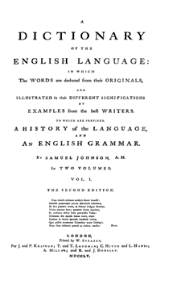 a dictionary of the english language  wikipedia a dictionary of the english language