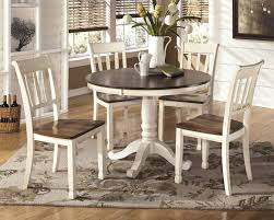 Two Toned Dining Room Sets Ashley Whitesburg Two Tone White Brown Finish Round Dining Room Table