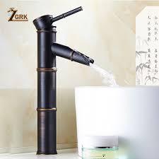 ZGRK <b>Black</b> Brass <b>Waterfall Bathroom Sink</b> Faucet Vessel Tall ...