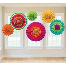 Mexican Fiesta <b>Party Decoration 6pcs</b>/<b>set</b> Hanging Paper Fans For ...