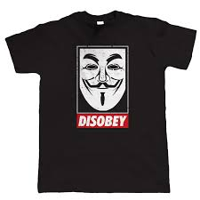 <b>Anonymous Mask Mens</b> T Shirt V For Vendetta Conspiracy <b>Disobey</b> ...