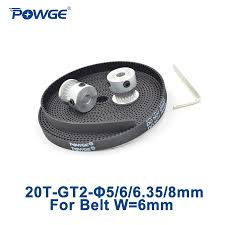POWGE 2pcs 20 <b>teeth GT2</b> Timing Pulley Bore 5mm 6mm 6.35mm ...