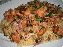 recetas de cocina, spaghetti ai frutti di mare. Letras opacas