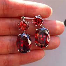 Female Luxury Crystal Zircon Stud Earrings <b>Vintage 925 Sterling</b> ...