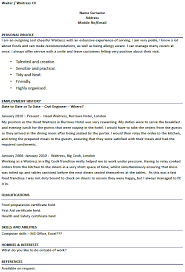 waiter waitress cv examples forumslearnistorg sample of waitress resume cover letter examples for waitress
