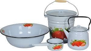 <b>Набор посуды</b> для приготовления <b>СтальЭмаль</b> Клубника садовая ...