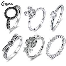 <b>CUTEECO</b> Silver Color Clear CZ Engagement Ring For Women Fit ...