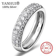 YANHUI Luxury Three Row Clear Crystal <b>Real 925 Silver</b> Wedding ...