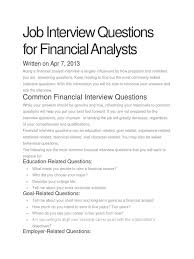 job interview questions for financial analysts txt job interview questions for financial analysts txt scribd com