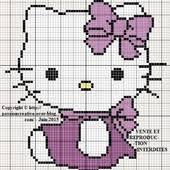 """Résultat de recherche d'images pour """"modèle broderie point de croix diagramme HELLO KITTY"""""""