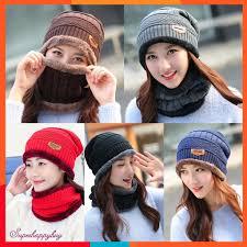 2pcs Unisex <b>Winter</b> Thicken Knitted <b>Hats</b> + Scarf Masks Sets ...