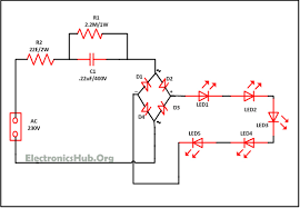 mains operated led light circuit working and advantages simple mains operated led circuit diagram source link electronicshub