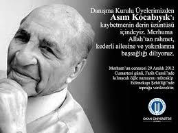 Danışma Kurulu Üyelerimizden Asım Kocabıyık'ı kaybettik - Okan Üniversitesi - Asim_Kocabiyik_Vefat-Mesaji