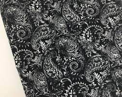 <b>Black paisley</b> fabric | Etsy