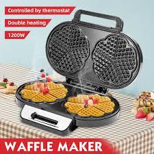 <b>1200w</b> Mini <b>Waffles</b> Maker Egg Cake Oven Breakfast Double Sided ...