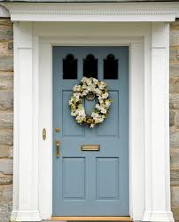 Interesting White Front Door Blue House Has Stone Exterior It A Light And Models Ideas