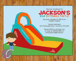 inflatable slide birthday party invitation boys bounce party 128270zoom