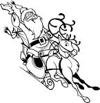 Олени с дедом морозом раскраски