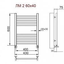 <b>Полотенцесушитель электрический Ника</b> Modern ЛМ-2 60/40/46 ...
