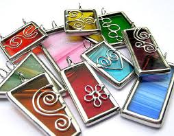 Stained glass pendants - <b>lot of 10pcs</b>   Stained glass jewelry, Glass ...