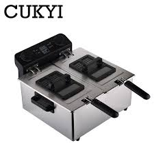 CUKYI Commercial <b>Electric Deep Fryers</b> household <b>double</b> cylinder ...