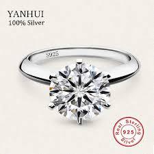 Sent Gift Box <b>Original Solid 925</b> Silver Ring Luxury 1 Carat CZ ...