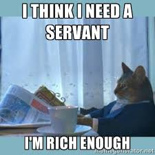 I think I need A SERVANT I'm rich enough - rich cat | Meme Generator via Relatably.com