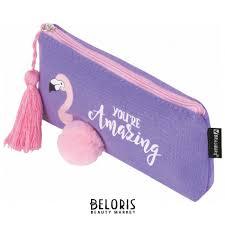 <b>Пенал</b>-косметичка, канвас с объемной аппликацией, <b>Flamingo</b> ...