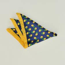 Ferrucci Milan 52-<b>LIMONI</b> yellow blue lemon fruit pattern <b>silk</b> chief ...