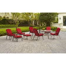 patio table and 6 chairs:  mainstays woodacre  piece patio dining and leisure set red seats