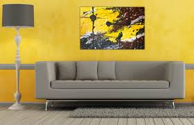 living room ideas grey small interior: alluring wall decor ideas for living room with simple yellow theme installed painting be equipped modern interior