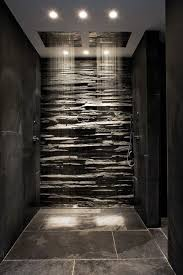 ideas shower systems pinterest: double shower heads in this sleek shower make your bathroom a place you wont want to leave i would add the bath at the end of this space and then it
