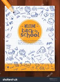 welcome back school background hand drawn stock vector 302557313 welcome back to school background hand drawn doodle elements and realistic pencil vector