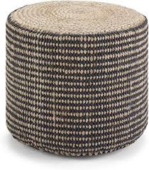 Simpli Home Larissa Contemporary Round <b>Braided Pouf</b> in Natural ...
