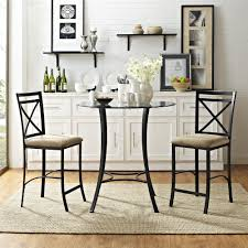 three piece dining set: dorel living dorel living valerie  piece counter height glass and metal dining set black beige