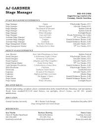 stage management resume college stage management stage management resume college stage management and resume