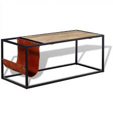 <b>Coffee Table</b> with Genuine Leather Magazine Holder <b>110x50x45</b> cm -