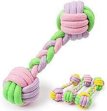 <b>Dog</b> Toys <b>Pet</b> Candy Colored Cotton Rope Dumbbell <b>Molar</b> Toy ...