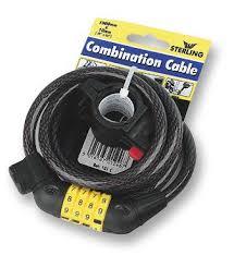 10mm x <b>1.5m</b> Combination Self Coiling <b>Cable Bike Lock</b> Black ...