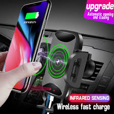 Car Phone Holder Auto Mount Qi Wireless Fast Charger Charging ...