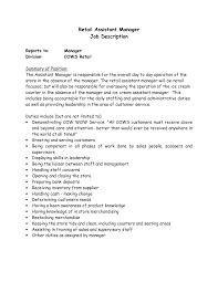 Hr Manager Job Description Cv  sales assistant job specification s     job description for shop assistant template