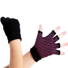 Women fitness Yoga <b>Gloves Non Slip Silicone</b> Gel <b>Half Finger</b> ...