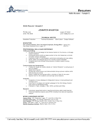 resume examples  example of skills for resume personal injury        resume examples  skills resume with technical writer with education and work or leadership history