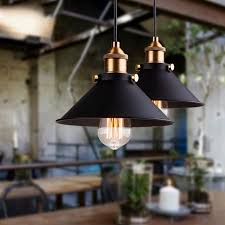 black <b>vintage industrial pendant light</b> nordic retro lights iron ...