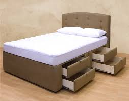 light brown leather cover platform bed with single 4 drawers and tufted headboard using white mattress brown leather bedroom furniture