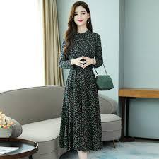 Long Sleeved Floral Dress Autumn <b>2019 New Slim Temperament</b> ...