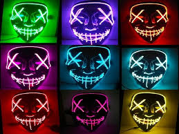 Mascara Led Mask The <b>Purge</b> Light Up Neon Skull Mask <b>Party</b> ...