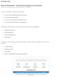 quiz worksheet using technology in an interview study com print technology in a job interview use trends worksheet